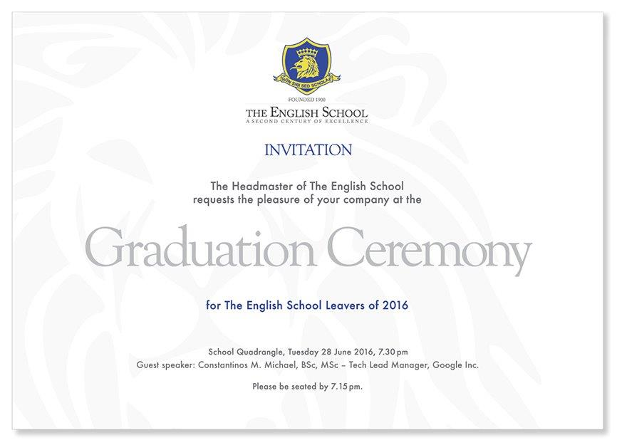 The english school graduation ceremony tuesday 28th june at 730pm is our graduates big night this year we are delighted to be welcoming to the school guest speaker mr constantinos m michael stopboris Gallery